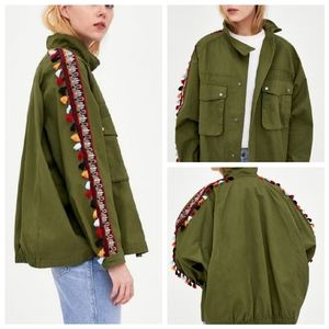Zara Army Green Oversized Tassel Jacket